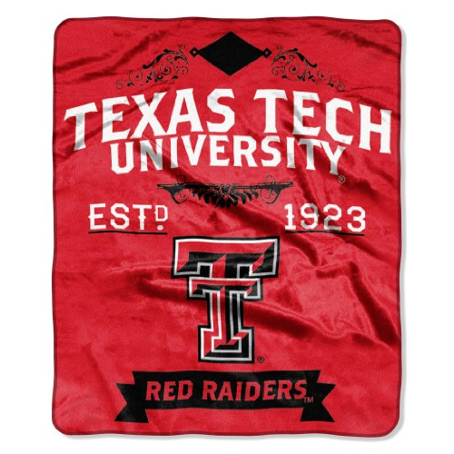 Officially Licensed NCAA Texas Tech Red Raiders Label Plush Raschel Throw Blanket, 50