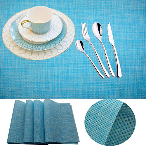 IMIYOKU Placemats Set of 4 MiniBasketweave Woven Vinyl Non-Slip Insulation Placemat Washable Table Mats (4, Blue) (Sets Outdoor Furniture Australia)