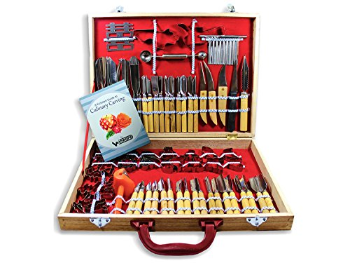 - WIN-WARE Culinary Carving Tool Set 80 Piece. Great Range of Carving Tools, Knives and Decorators Presented in a Wooden Case. Fruit/vegetable Garnishing/cutting/slicing Set. Includes Decorators, Peelers, Cutters, Sculptors and More