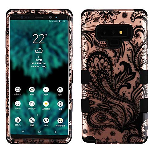 TUFF Hybrid Military Grade Certified Shockproof Protector Cover Case and Atom Cloth for Samsung Galaxy Note 9-2D Paisley Vines