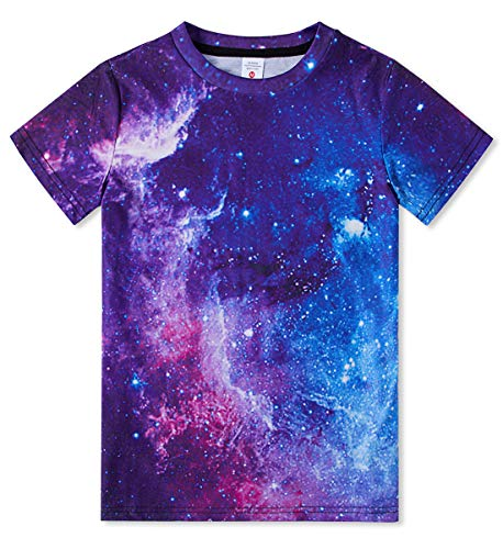 (Funnycokid Boys Short Sleeve Galaxy T-Shirts Young Girls Graphic Crewneck Pullover Tees Summer)
