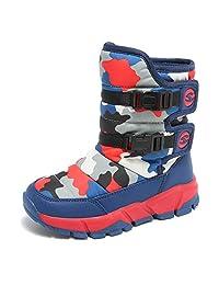 JOYMI Boys Snow Boots Winter Unisex Kids Shoes Fur Lined Warm Booties Outdoor Waterproof Girls Ankle Boots Fashion Sneaker (Toddler/Little Kid/Big Kid)