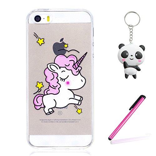 iPhone 5 5S / SE Hülle Schüchternes Einhorn Premium Handy Tasche Schutz Transparent Schale Für Apple iPhone 5 5S / SE + Zwei Geschenk