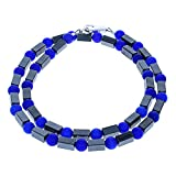 Timeless-Treasures Hematite & Cobalt Blue Cats Eye (Fiber Optic) Men's Beaded Necklace (Handmade in USA)