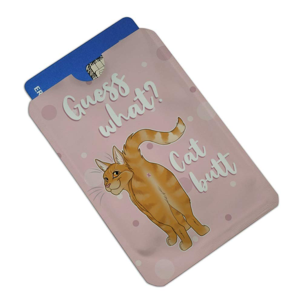 Guess What Cat Butt Credit Card RFID Blocker Holder Protector Wallet Purse Sleeves Set of 4