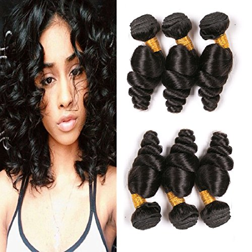 Loose Wave 3 Bundles Unprocessed Brazilian Virgin Human Hair Bundles On Sale Clearance Real Remy Hair Weave Wet And Wavy Human Hair For Women Natural Black 14 16 18 Inch (Wet And Wavy Human Hair Sew In)
