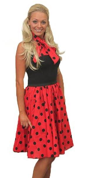"6bee919e1072 26"" Red Rock N Roll Black Polka Dot Skirt & Scarf Set 1950s 1960s  Womens"