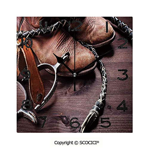 (SCOCICI Square Wall Clock Authentic Old Leather Boots and Spurs Rustic Rodeo Equipment USA Style Art Picture 8 inch Morden Acrylic Mirror Wall Clocks Silent Square Decorative Clock)