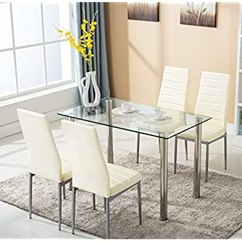 Superb Mecor 5 Piece Glass Dining Table Set With 4 Leather Chairs Kitchen Furniture ,Beige