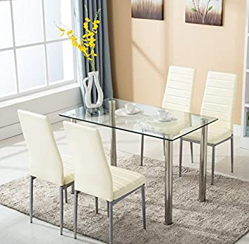 Mecor 5 Piece Glass Dining Table Set 4 Leather Chairs Kitchen Furniture  (Beige)