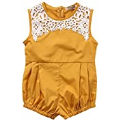 Cute Newborn Baby Girls Short Sleeve Lace Printing Zipper Romper Bodysuit (12-18months, Yellow)