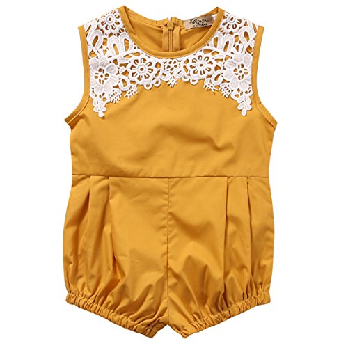 Cute Newborn Baby Girls Short Sleeve Lace Printing Zipper Romper Bodysuit (18-24months, Yellow)