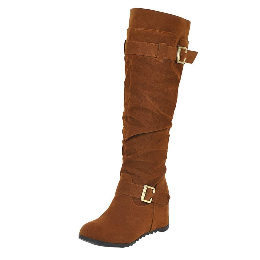 SSUPLYMY Hohe Stiefel Damen Vintage Wedge Lange Stiefel Einfarbig Schnalle Freizeitstiefel Bequem Atmungsaktiv Langschaftstiefel Mode rutschfest Stiefel