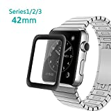 Bestfy Apple Watch 42mm Screen Protector- Tempered Glass Screen Protector, Anti-Bubbles, Scratch Resistant, Full Screen Coverage for Apple Watch 42mm Series 3/2/1 (Black, 1Pack)