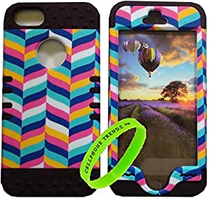 Cellphone Trendz Hybrid Rocker Case for Apple iPhone 5, 5s, 5g - Blue Pink Yellow Chevron Design Case with Brown Silicone Skin