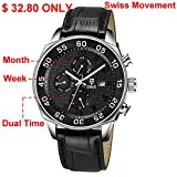 Derieter Sports Men Multifunction Watch Swiss ISA Movement Wristwatch Stainless Steel Wrist Watch Waterproof Genuine Leather Strap Week Month Date and 24 Hours