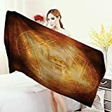 Anhounine Bathroom Towels Horror House Decor Demon Trap Symbol Logo Ceremony Creepy Ritual Fantasy Paranormal Design Bath Pool Shower Towel for Kids 55''x27.5'' Orange