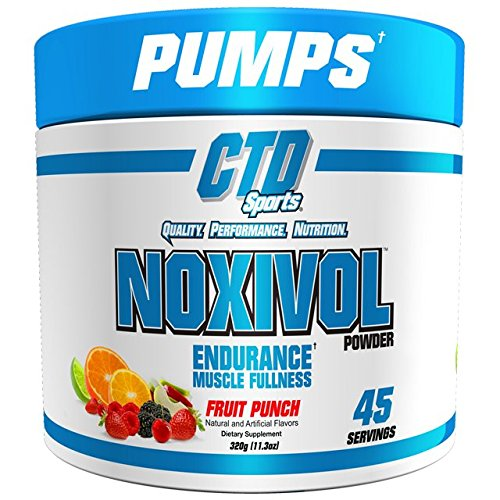 CTD Sports Noxivol Powder 45 srv. Best Nitric Oxide Booster, Muscle Volumizer. (Fruit Punch Flavor)