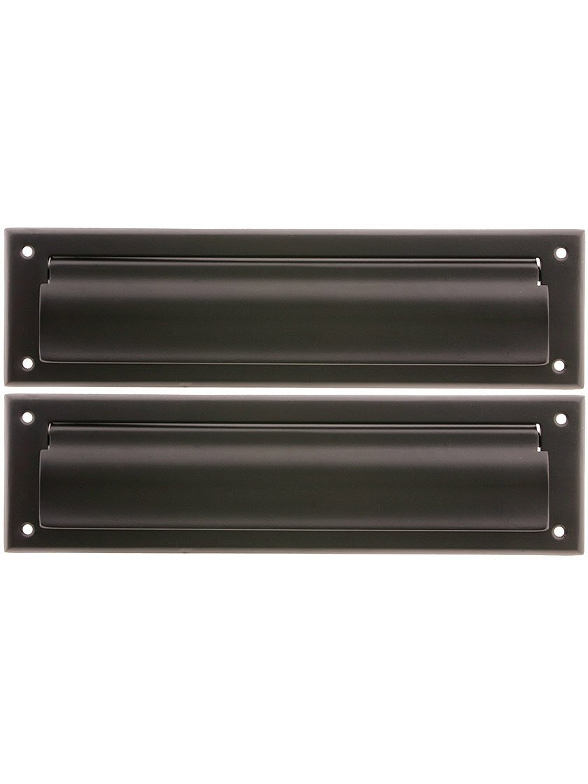Solid Brass Magazine Size Mail Slot With Closed Backplate Oil-rubbed Bronze.