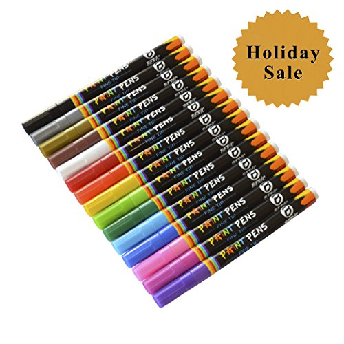 Beric Premium Paint Pens 15 pack, Water-based, Marker, Fine Tip, Writes on Almost Anything, Water and Sun Resistant Vibrant Colors Low Odor Long Lasting, Fast Drying Assorted Colors