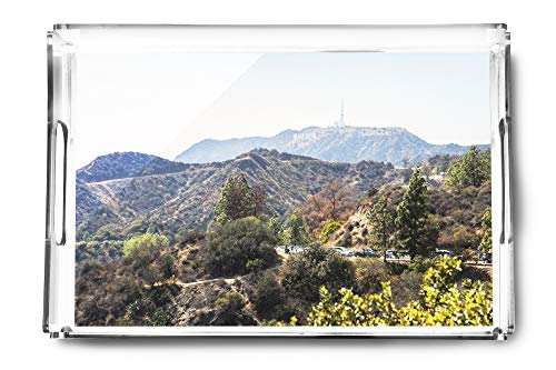 Mountain view with Hollywood Sign from the Griffith Observatory A-92271 (Acrylic Serving Tray) (Award Beveled Acrylic Diamond)