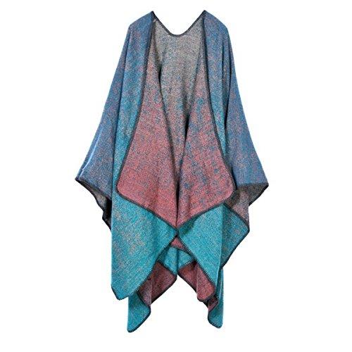 de gradiente mujeres color suave Las manta de grueso Poncho Azul WISOnqBBF