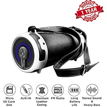 Woozik S29 Wireless Speaker, Outdoor/Indoor Boombox - with Micro SD Card Slot, Aux, Back-lit LED Light, FM Radio, Rechargeable Battery, Leather Cover ...