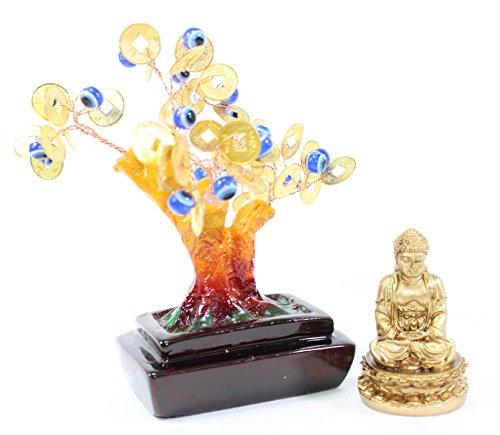 - Set of 2~Feng shui Gold Buddha Blue Evil Eye Money Tree Lucky Home Decor Gift