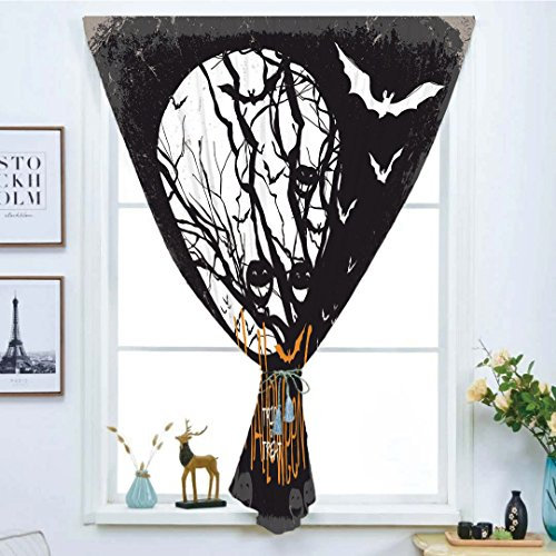 Blackout Window Curtain,Free Punching Magic Stickers Curtain,Vintage Halloween,Halloween Themed Image with Full Moon and Jack o Lanterns on a Tree Decorative,Black White,Paste style,for Living Room