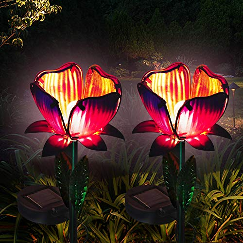 LuxBox Solar Lights Outdoor Decorative 2 Pack Flower Garden Lights Decor Glass Petal Metal Leaves Landscape for Pathway…