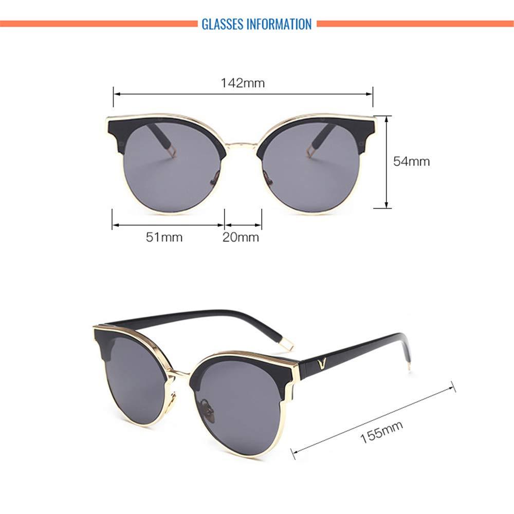 Wang-RX Ojo de gato Gafas de sol redondas Mujeres Damas ...