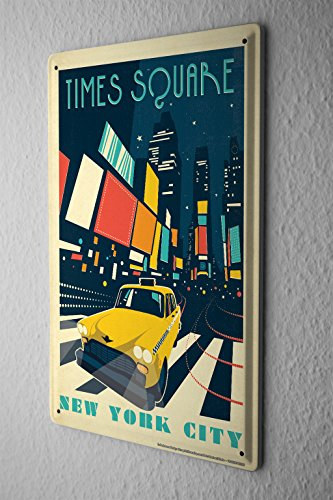 Tin Sign Deco City Time Square New York City at night taxi abstract - In York New Square Stores City Times