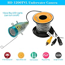 KKmoon 50M HD 1200TVL CCTV Camera Underwater Fish Finder for Ice/Sea/River Fishing