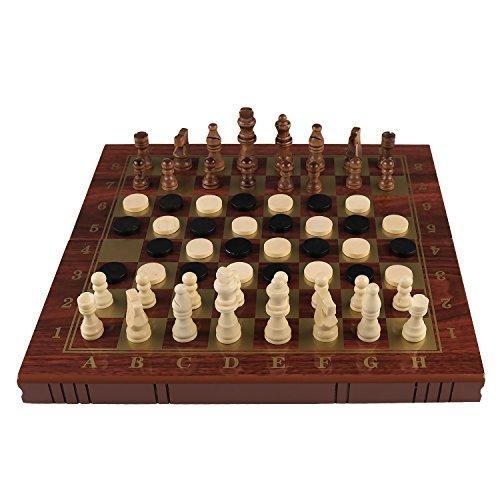 Kaileチェスチェッカーバックギャモンセット初心者の方は、インテリジェントおもちゃとゲームfor Kids (ブラック/ブラウン) ブラウン
