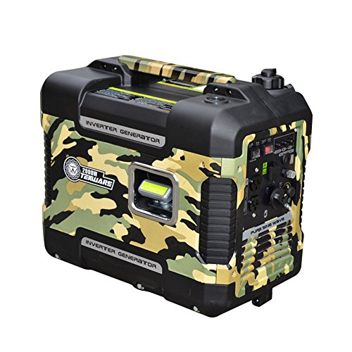 Tekware Lightweight and Silent 2000-Watt Portable Inverter Generator, Super Quiet Gasonline Digital Power, EPA Compliant with Eco-Mode, Equipped with 2 USB Ports,12V DC Output