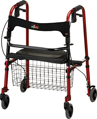 NOVA Cruiser De-Light Rollator Walker, Red