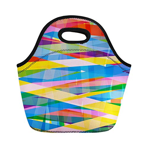 Insulated Media File - Semtomn Lunch Tote Bag Bold Multicolor Stripe Files Brazil Stripes Loud Eighties Colors Reusable Neoprene Insulated Thermal Outdoor Picnic Lunchbox for Men Women