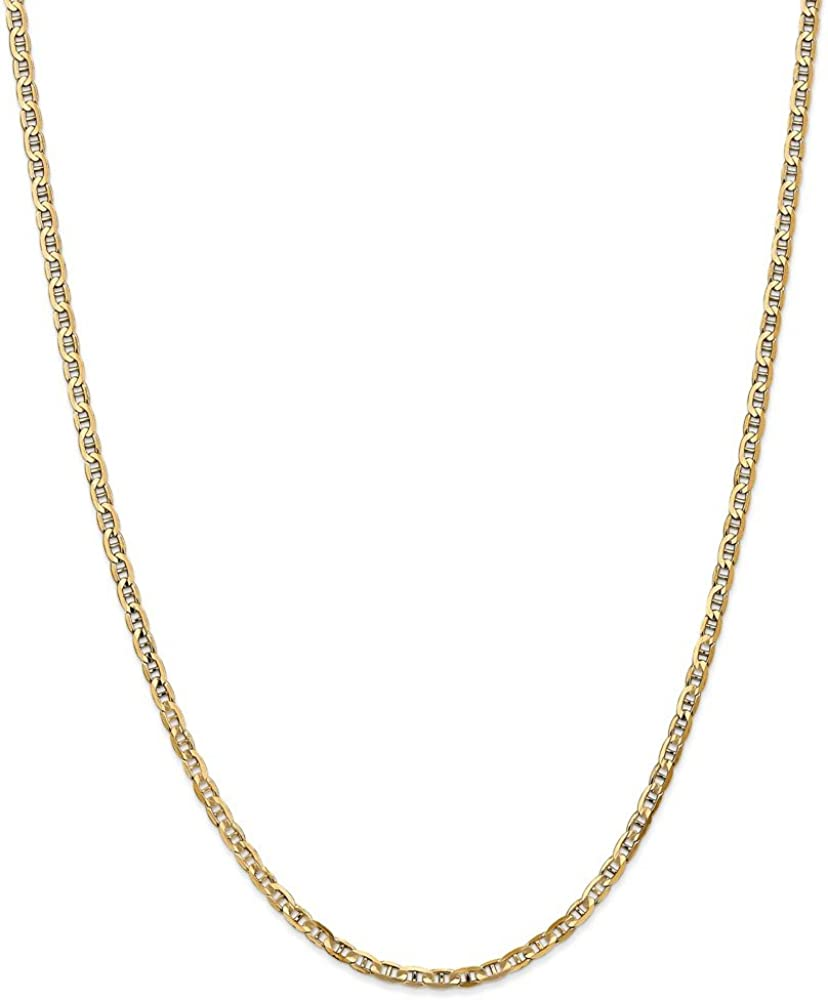 FB Jewels 14K Yellow Gold 3mm Concave Anchor Chain Anklet