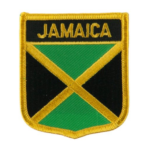 Jamaica Flag Patch/International Travel Shield Iron On Badge by Backwoods Barnaby (Jamaican Crest, 2.75