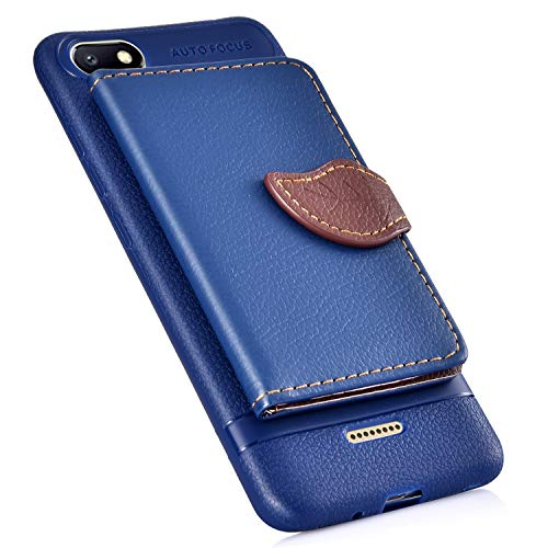 Price comparison product image MoreChioce Compatible with Xiaomi Redmi 6A Case, Xiaomi Redmi 6A Leather Case, Premium PU Leather Back Cover Flip Case with Card Slot, Stand Holder Features and Leaf Shape Magnetic Closure, Blue