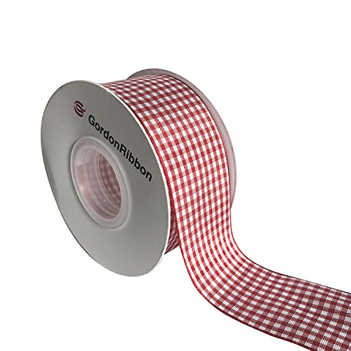 Red Gingham Woven Edge Ribbon, Checkered Craft, 25 Yards Long per Spool, 1 1/2 Inch (Christmas Fabric Crafts)