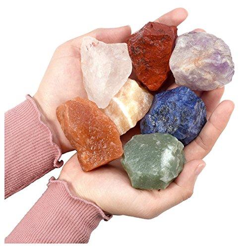 Jovivi 7 Chakra Healing Crystals Mixed Natural Rough Raw Stones for Tumbling,Cabbing,Reiki Energy - 1.97