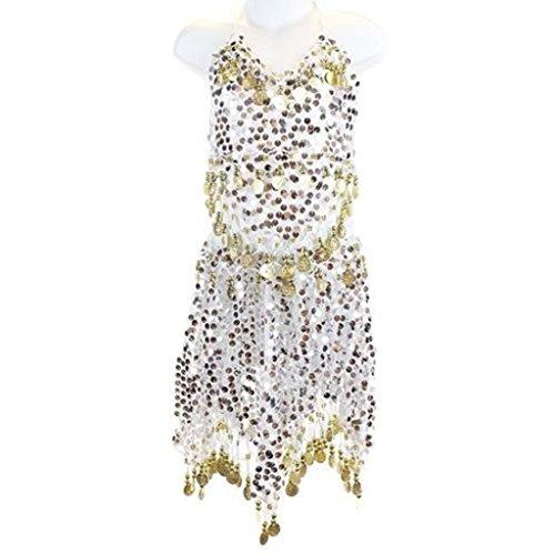 Ballet Dancer Fancy Dress Costume (Pilot-trade Kid's Belly Dance Costume Girls Sparkly Circle Sequin Coins Top & Skirt White)
