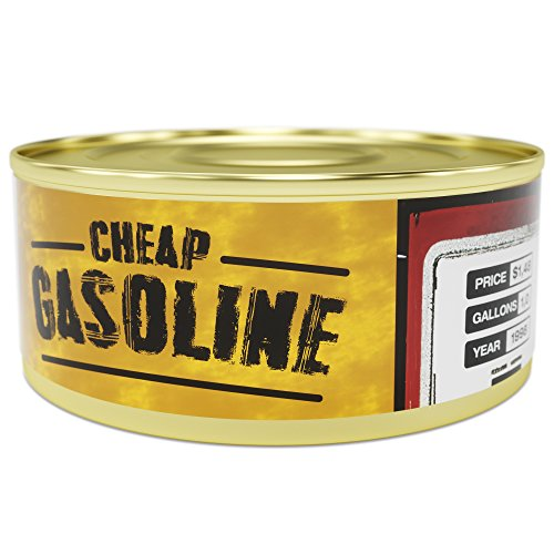 GAG Can of Gasoline - $1.48 per Gallon - Unique GAG gift and fun souvenir for Petrol-heads, Friends, Mom, Dad, Birthday Girl, Boy - Funny present idea in a Tin, hilarious prank 11.8 oz (Idee Originali Per Halloween)