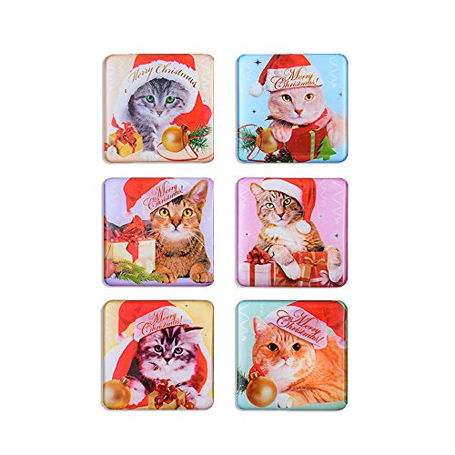 Morcart Refrigerator Magnets Cartoon Ctue Cat Mangets (6pcs) 3D Pattern Square Christmas Gifts Suitable For Kitchen Student Locker Whiteboard Funny Office]()