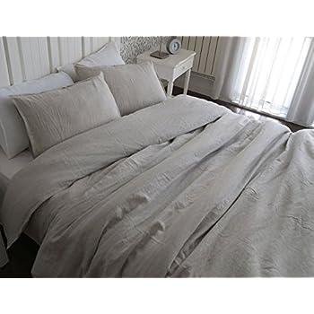 Bon Meadow Park 100% Pure Linen 3 Pieces Duvet Cover Set, Vintage Stone Washed  Soft