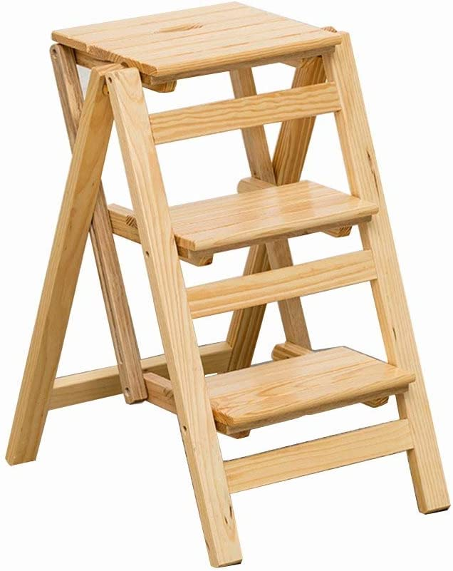 Casa Tres pasos de escalera de heces, de madera maciza escalera de tijera marco convenientes Usos Múltiples de madera Marco cuatro colores Revistero Engrosado (Color : Natural, Size : 42 * 56 *