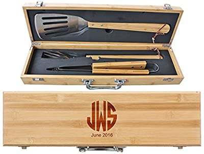 Engraved Monogram Fathers Day 3 Piece BBQ Grill Set with Bamboo Case - BBQ02 -07