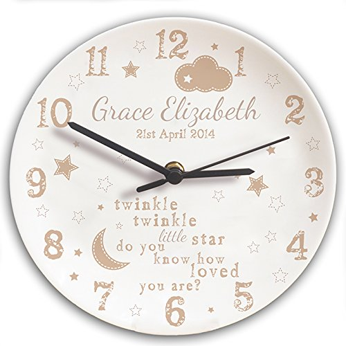 Personalised Children's Bedroom Wall Clock - Twinkle Twinkle Design, Bedroom Clock, Childrens Clocks, Gift for Christening, Gift Ideas for Children Kiddiewinkle Gifts