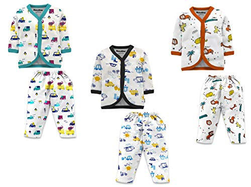 NammaBaby Cotton Front Open Full Sleeves Vest- Tshirt with Rib Leggings Pajama Set Full Sleeves Tee and Lounge Pant Multi-Coloured Set of 3